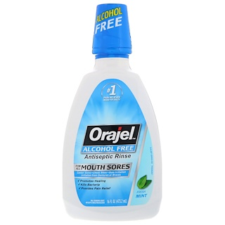 Orajel, Antiseptic Rinse, For All Mouth Sores, Alcohol-Free, Fresh Mint, 16 fl oz (473.2 ml)
