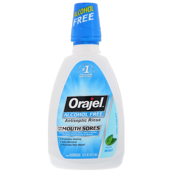 Orajel, Antiseptic Rinse, For All Mouth Sores, Alcohol-Free, Fresh Mint, 16 fl oz (473.2 ml) (Discontinued Item)