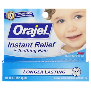 Orajel, Instant Relief For Teething Pain, Gel, Cherry Flavored, 0.33 oz (9.4 g)