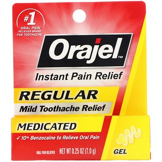 Orajel, Regular Mild Toothache Relief, Medicated, 0 25 oz (7 0 g)