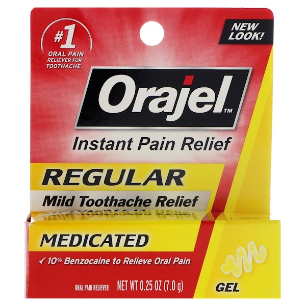 Orajel, Regular, Mild Toothache Relief Gel , 0、25 oz (7、0 g)