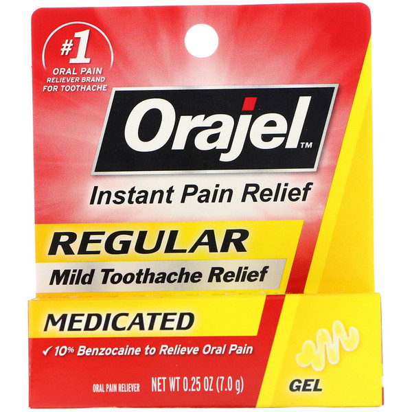 Orajel, Regular Mild Toothache Relief, Medicated, 0.25 oz (7.0 g)