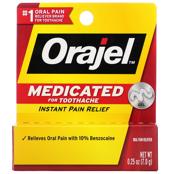 Orajel, Medicated For Toothache, Instant Pain Relief Gel, 0.25 oz (7.0 g) (Discontinued Item)