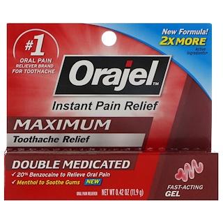 Orajel, Instant Pain Relief, Maximum, Toothache Relief, Fast-Acting Gel, 0.42 oz (11.9 g)