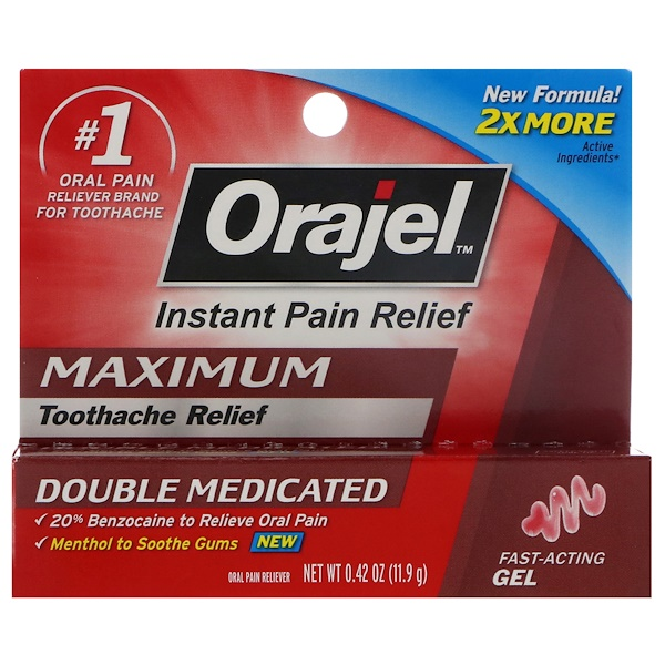 Orajel, Instant Pain Relief, Maximum, Toothache Relief, Fast-Acting Gel, 0.42 oz (11.9 g)