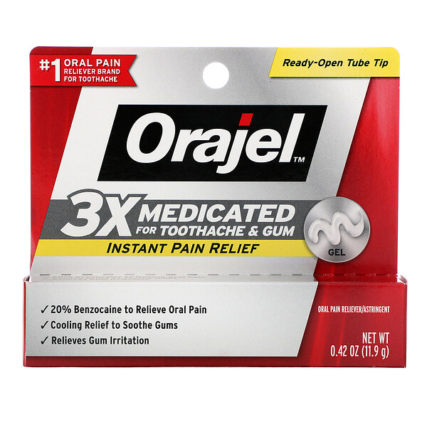 Orajel, Instant Pain Relief Gel, 3X Medicated For Toothache & Gum, 0.42 oz (11.9 g)