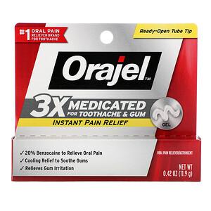 Orajel, Instant Pain Relief Gel, 3X Medicated For Toothache & Gum, 0.42 oz (11.9 g) отзывы