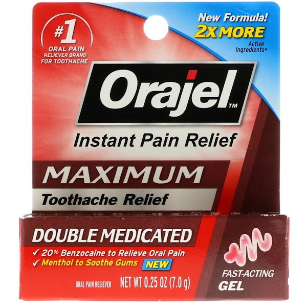 Orajel, Maximum Strength Toothache Pain Relief, Double Medicated Gel, 0.25 oz (7.0 g)
