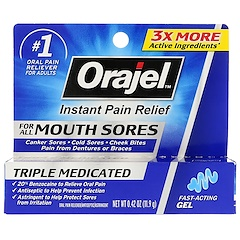 Orajel, Instant Pain Relief For All Mouth Sores Fast - Acting Gel, 0.42 oz (11.9 g)