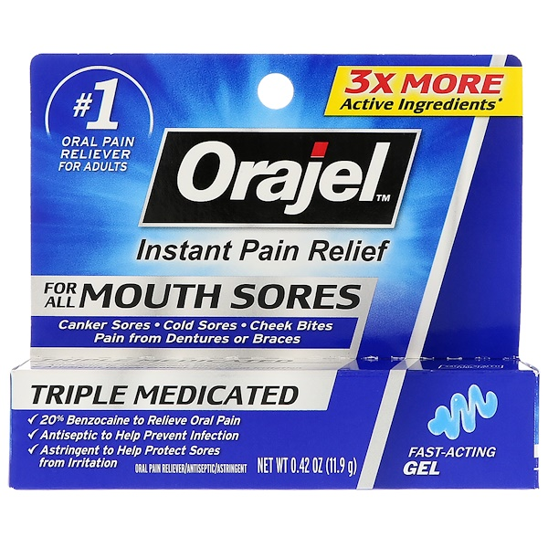 Instant Pain Relief For All Mouth Sores Fast - Acting Gel, 0.42 oz (11.9 g)