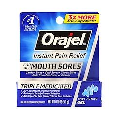 Orajel, トリプルメディケイド、即効性鎮痛剤、口腔内のあらゆる痛みに、0.18 oz (5.1 g)