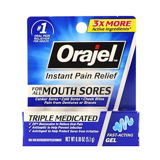 Orajel, Triple Medicated, Instant Pain Relief, For All Mouth Sores, 0.18 oz (5.1 g)