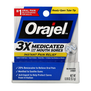 Orajel, Instant Pain Relief Gel, 3X Medicated For All Mouth Sores, 0.18 oz (5.1 g) отзывы