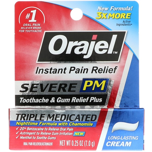 Orajel, Severe PM, Toothache & Gum Relief Plus, Triple Medicated Cream, 0.25 oz (7.0 g)