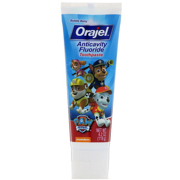 Orajel, Paw Patrol Anticavity Fluoride Toothpaste, Bubble Berry, 4.2 oz (119 g)