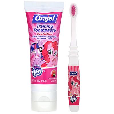 Купить Orajel My Little Pony Training Toothpaste with Toothbrush, Fluoride Free, 3 Months to 4 Years, Pinkie Fruity Flavor, 1 oz (28.3 g)