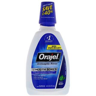 Orajel, Antiseptic Rinse For All Mouth Sores, Fresh Mint, 16 fl oz (473.2 ml)