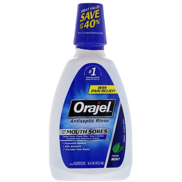 Orajel, Antiseptic Rinse For All Mouth Sores, Fresh Mint, 16 fl oz (473.2 ml)