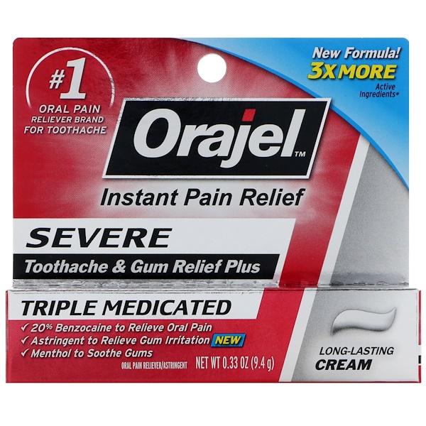 Orajel, Severe, Toothache and Gum Relief Plus, Long-Lasting Cream, 0.33 oz (9.4 g)