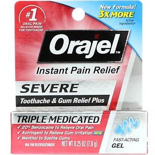 Orajel, Против сильной зубной боли и боли десен, медикаментозный гель тройного действия, 0,25 унц. (7,0 г)