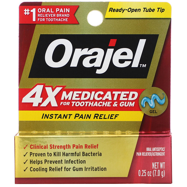 4X Medicated for Toothache & Gum, Instant Pain Relief Gel, 0.25 oz (7.0 g)