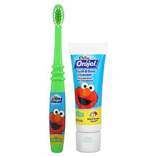 Orajel, منظف الأسنان واللثة مطبوع عليه شخصية إلمو، خالٍ من الفلورايد، لسن يتراوح بين 3 شهور و24 شهرًا، بنكهة التفاح والموز، 1 أونصة (28.3 جم)