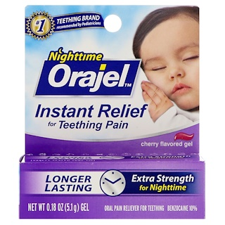 Orajel, Nighttime Instant Teething Pain Relief Gel, Cherry Flavored, 0.18 oz (5.1 g)