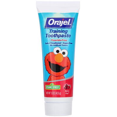 Купить Orajel Elmo Training Toothpaste, Fluoride-Free, 3 Months to 4 Years, Berry Fun, 1.5 oz (42.5 g)