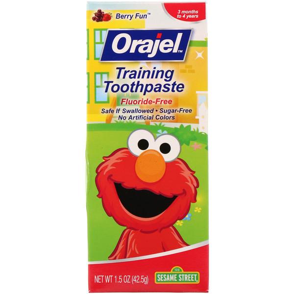 Orajel, Sesame Street Training Toothpaste, Flouride-Free, Berry Fun, 1.5 oz (42.5 g)