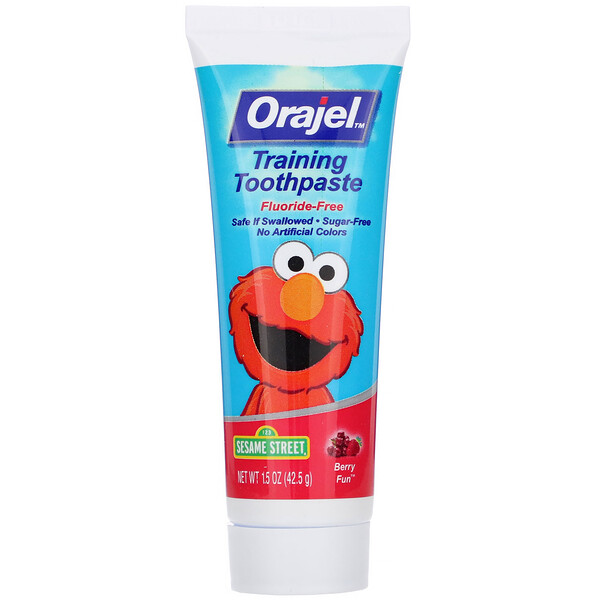 Orajel, Elmo Training Toothpaste, Fluoride-Free, 3 Months to 4 Years, Berry Fun, 1.5 oz (42.5 g)