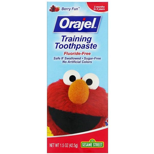 Orajel, Sesame Street Training Toothpaste, Flouride-Free, 3 Months to 4 Years, Berry Fun, 1、5 oz (42、5 g)