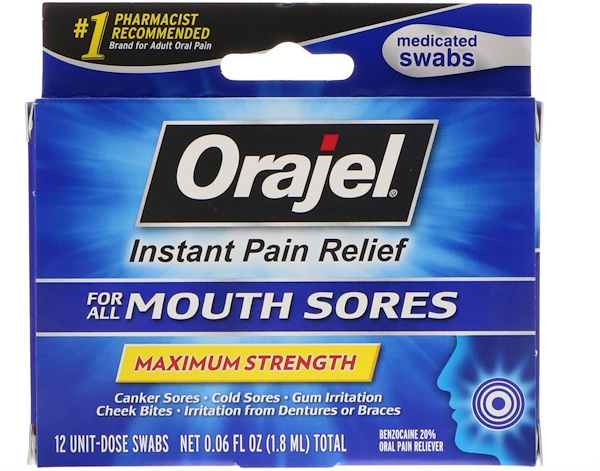 Orajel, Instant Pain Relief for All Mouth Sores, Maximum Strength, 12 Swabs, 0.06 fl oz (1.8 ml)