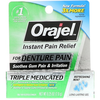 Orajel, Мгновенное обезболивание при зубных протезах, тройной медикаментозный гель, освежающая мята, 0,25 унц. (7,0 г)
