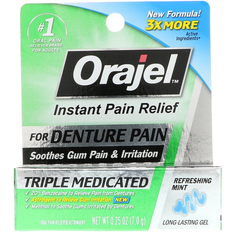 Orajel, Instant Pain Relief for Denture Pain, Triple Medicated Gel, Refreshing Mint, 0.25 oz (7.0 g)