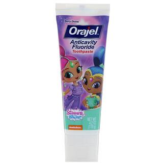 Orajel, Creme Dental com Flúor Anticáries Shimmer & Shine, Frutas Divinas, 4,2 oz (119 g)