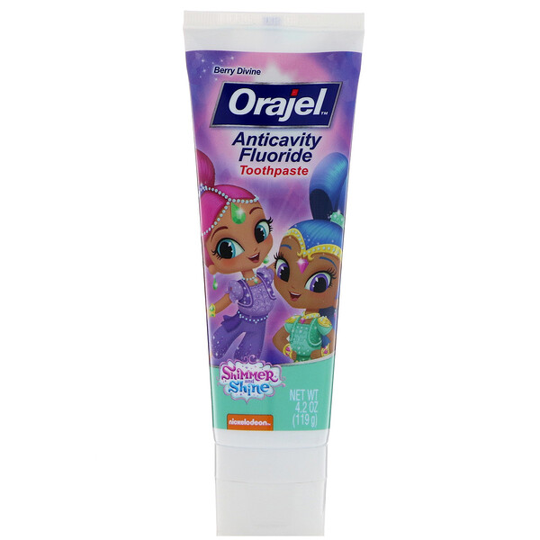 Orajel, Crema dental anticaries con flúor Shimmer & Shine, Berry Divine, 119 g (4.2 oz)