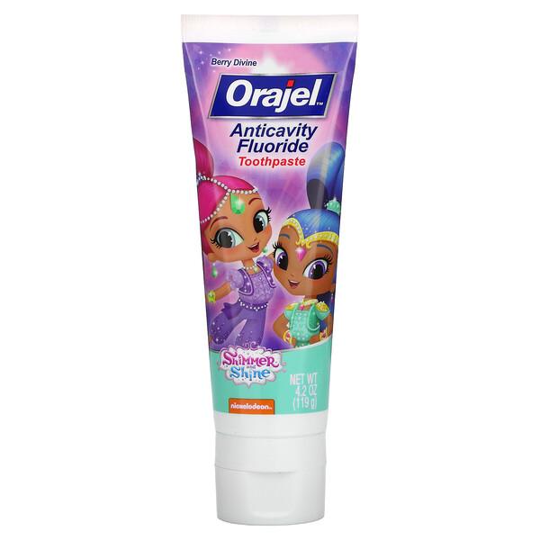 Orajel, Shimmer & Shine Anticavity Fluoride Toothpaste, Berry Divine, 4.2 oz (119 g)