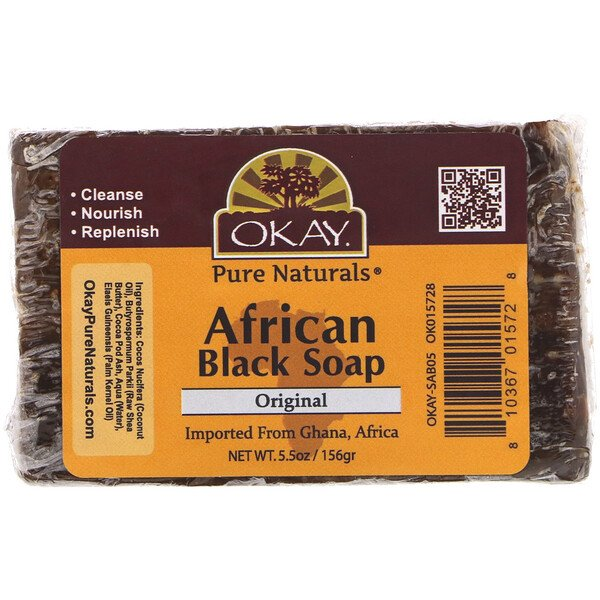 Okay Pure Naturals, African Black Soap, Original, 5.5 oz (156 g)