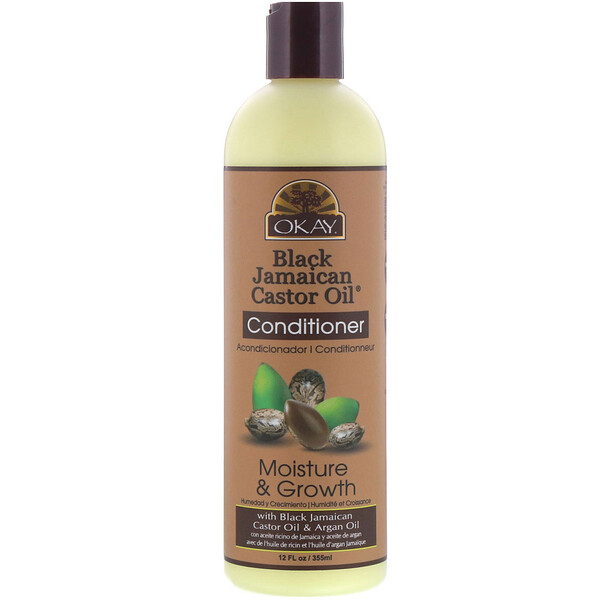 Okay Pure Naturals, Black Jamaican Castor Oil, Après-shampoing, 355 ml