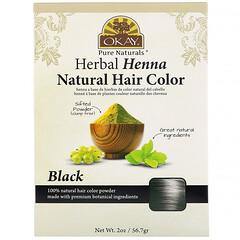 Okay Pure Naturals, 草本散沫花天然染髮劑,黑色,2 盎司(56.7 克)