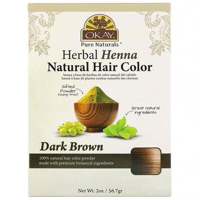 Купить Okay Pure Naturals Натуральная краска для волос из травяной хны, темно-коричневый, 56, 7 г (2 унции)
