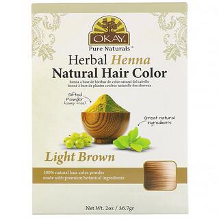Okay Pure Naturals, لون الشعر الطبيعي من الحناء العشبية، بني فاتح، أونصتان (56.7 جم)