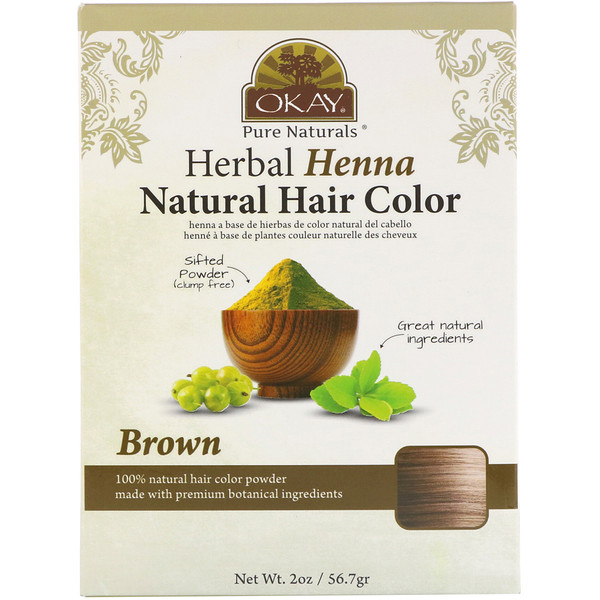 Okay, Herbal Henna Natural Hair Color, Brown, 2 oz (56.7 g)