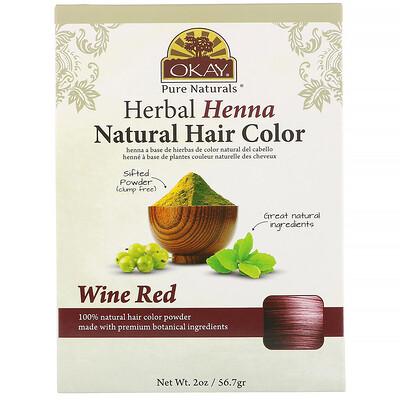 Купить Okay Pure Naturals Натуральная краска для волос из травяной хны, винно-красный, 56, 7 г (2 унции)