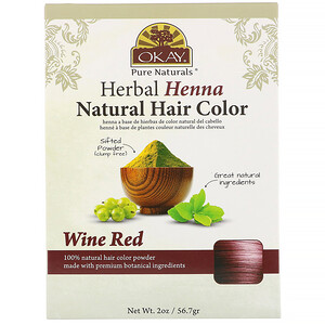 Okay Pure Naturals, Herbal Henna Natural Hair Color, Wine Red, 2 oz (56.7 g) отзывы