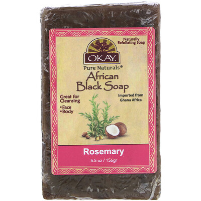 Купить Okay Pure Naturals African Black Soap, Rosemary, 5.5 oz (156 g)