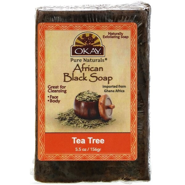 Okay Pure Naturals, African Black Soap, Tea Tree, 5.5 oz (156 g)