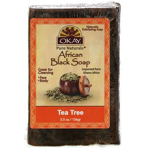 Okay Pure Naturals, African Black Soap, Tea Tree, 5.5 oz (156 g) отзывы покупателей