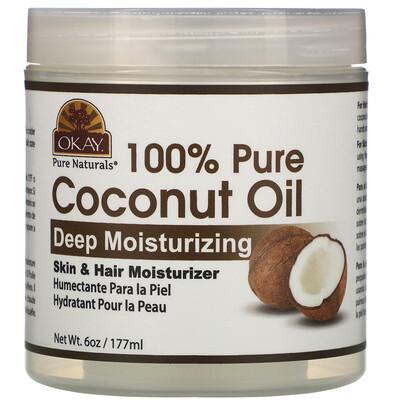 Купить Okay Pure Naturals 100% Pure Coconut Oil, Deep Moisturizing, 6 oz (177 ml)