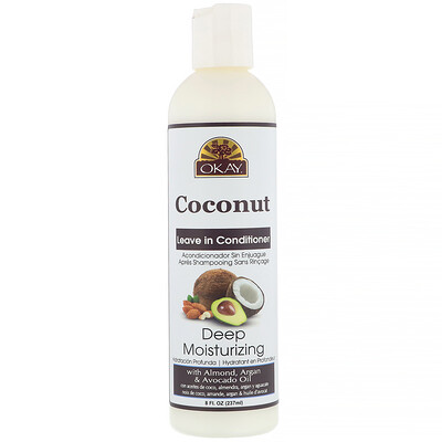 Купить Okay Pure Naturals Deep Moisturizing, Leave in Conditioner, Coconut, 8 fl oz (237 ml)